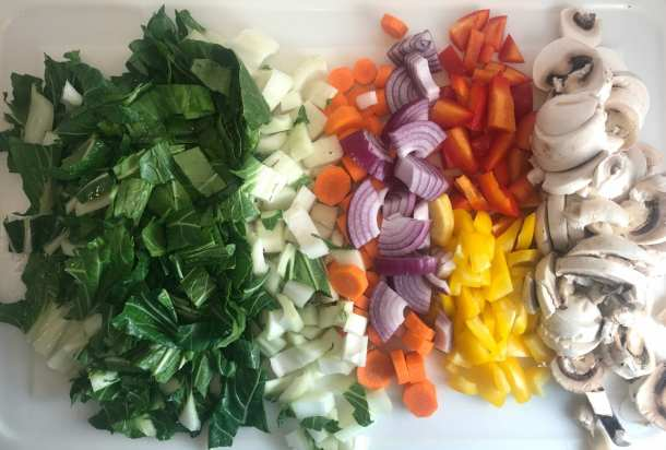 Vibrant colorful rainbow of vegetables in an Asian stir fry