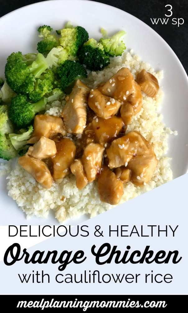 Delicious and healthy copy cat Panda Express Orange chicken with cauliflower rice -Just 3 WW FreeStyle SmartPoints per serving!