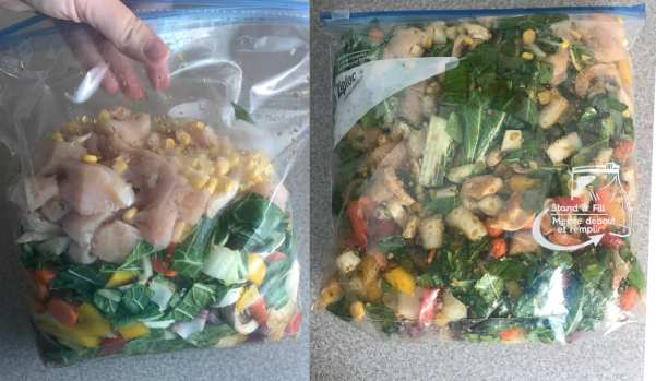 Combine chicken, Asian vegetables and marinade. Refrigerate for at least and hour.