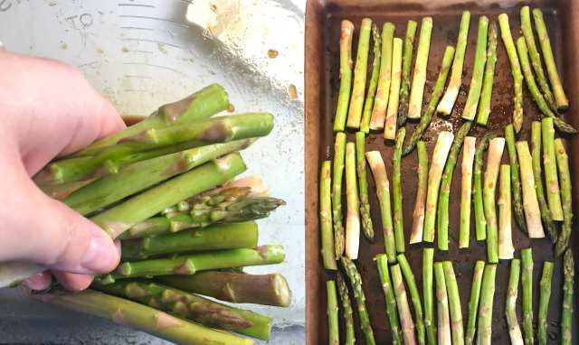 Toss the asparagus in the brown sugar/garlic mixture and bake in the oven for 15 minutes at 400 degrees.