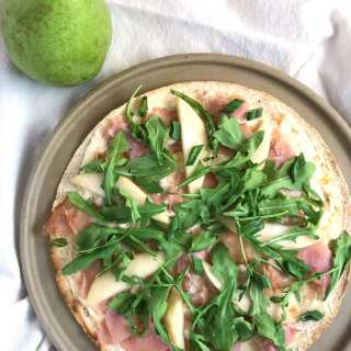 Ham, Pear, and Goat Cheese Thin Crust Pizza