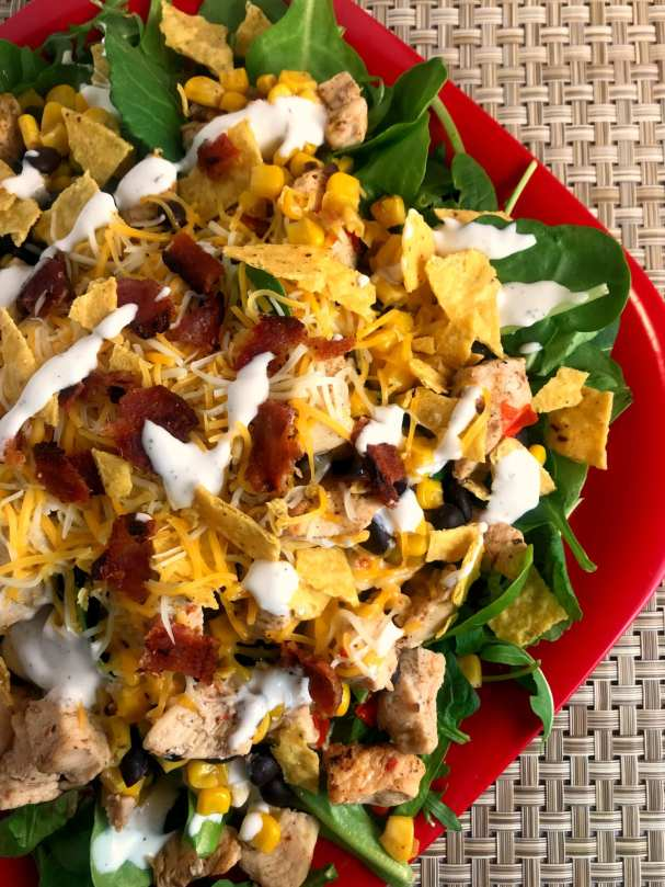 Southwest Chicken Bacon and Ranch Salad - Just 3 WW FreeStyle SP per serving!