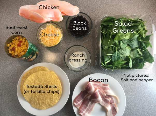 Ingredients for delicious Southwest Chicken Bacon and Ranch salad on Meal Planning Mommies.