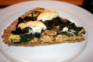 Swiss chard and corn tart