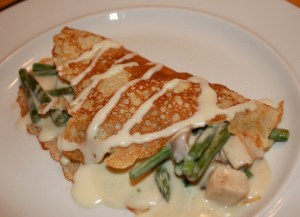 Chicken Crepes with Asparagus and Mushrooms