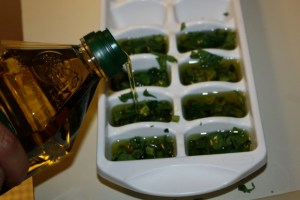 Photo of basil in ice cube tray, adding olive oil
