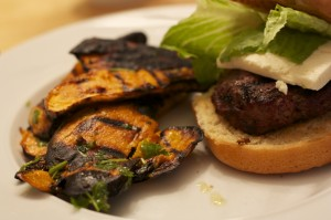 Feta Burger with Grilled Sweet Potatoes