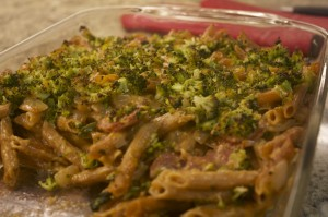 Spicy Sausage and Penne Casserole with Broccoli Breadcrumbs