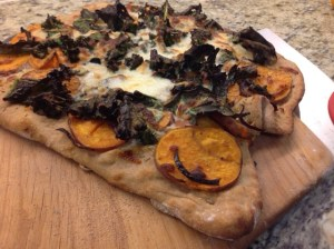 Sweet potato kale pizza