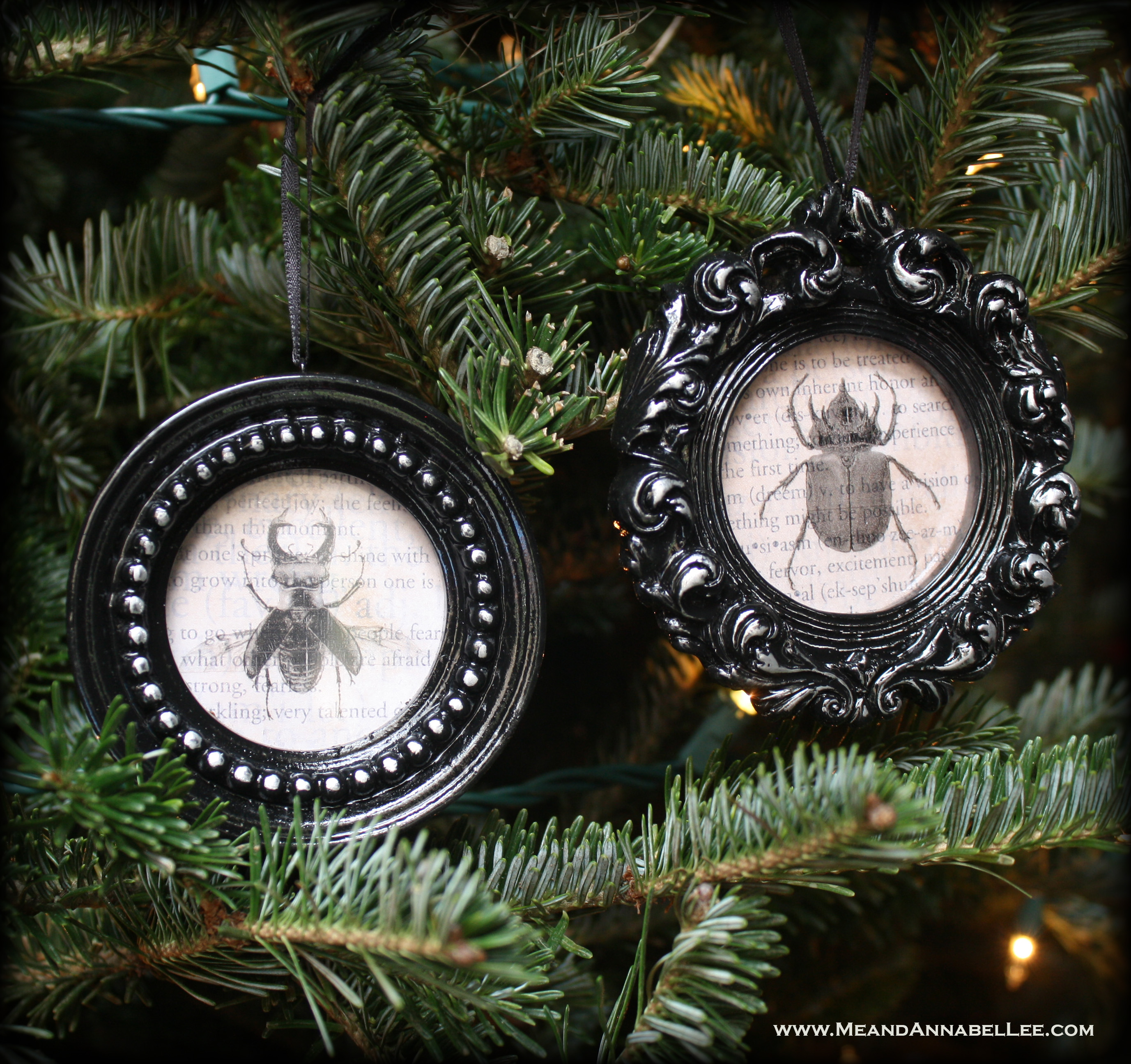 diy gothic christmas ornaments vintage beetle specimens halloween everyday black xmas decor