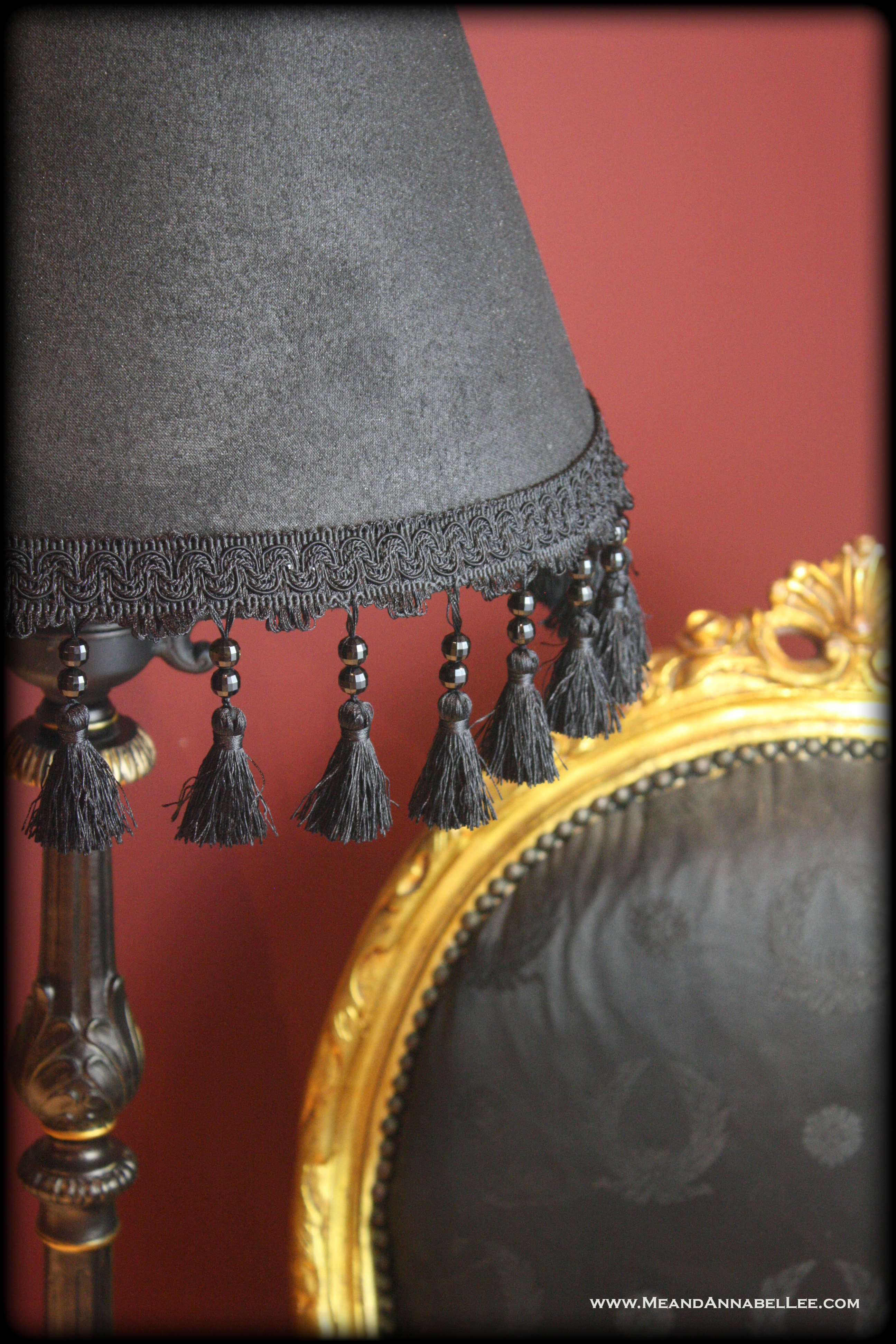 Diy victorian gothic black lamp shade floor lamp goth home decor diy victorian gothic black lamp shade black gold goth home decor beaded tassel aloadofball Image collections