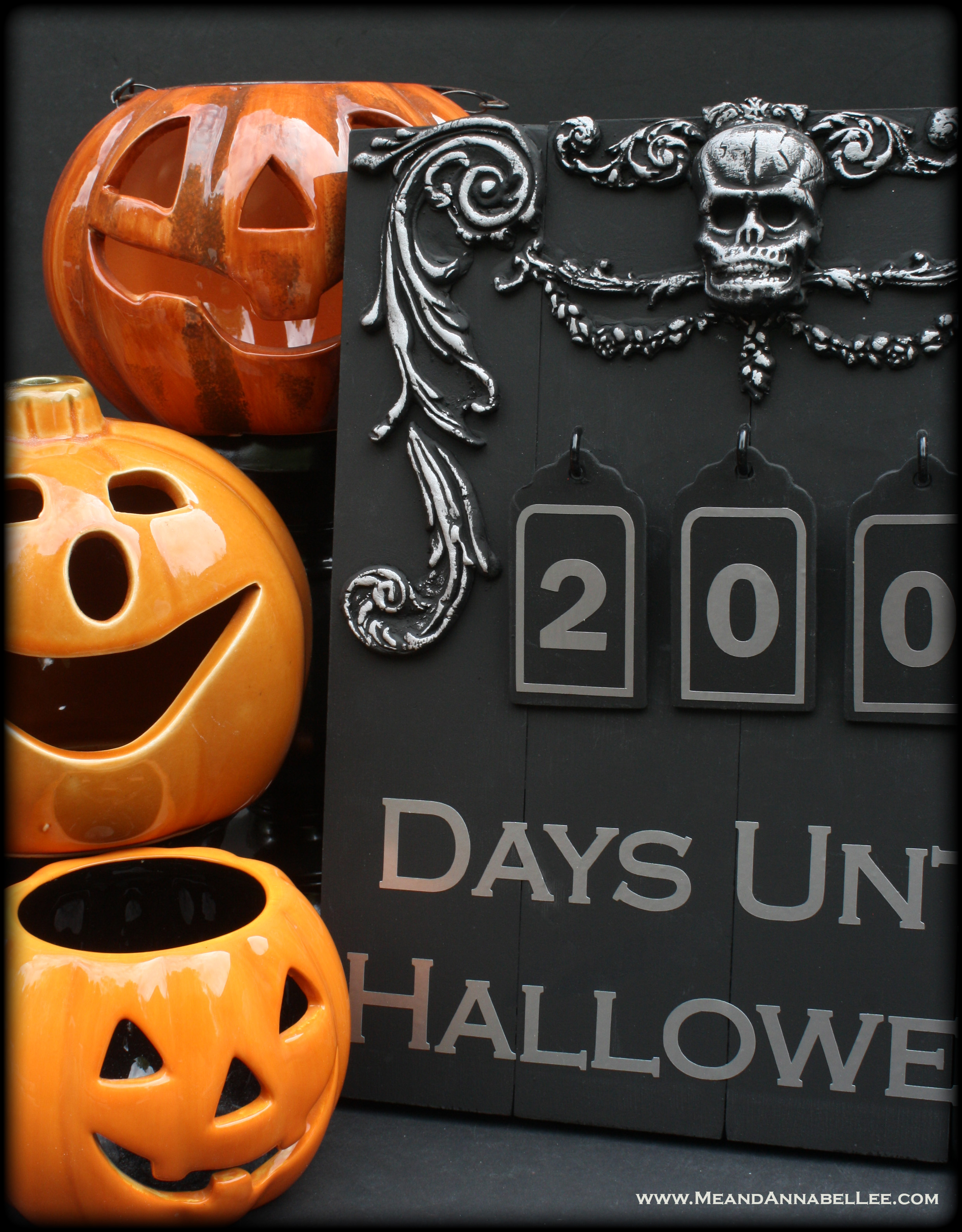 365 days until halloween skull countdown sign | me and annabel lee