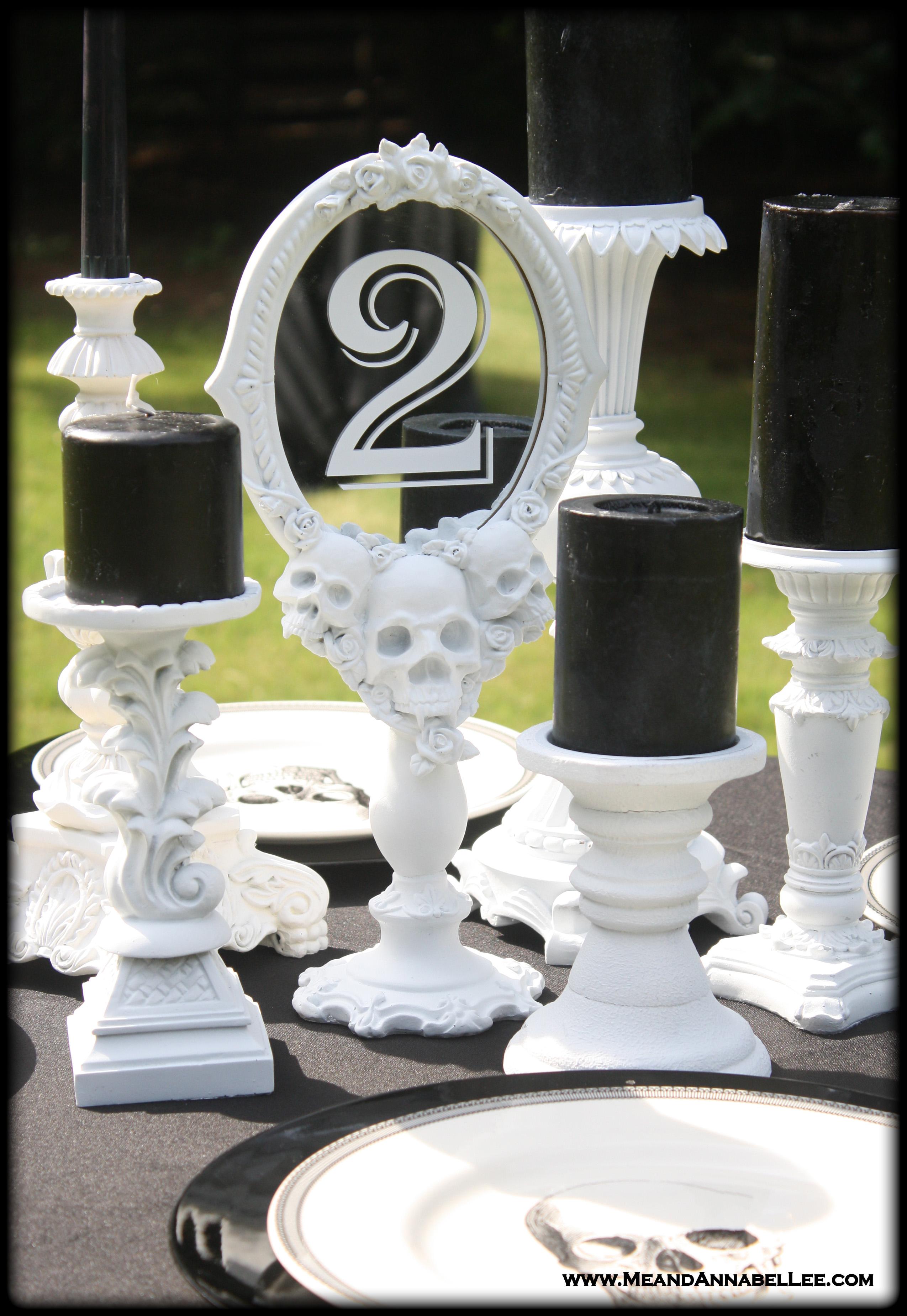 Diy White Vampire Skull Mirror Table Numbers Gothic