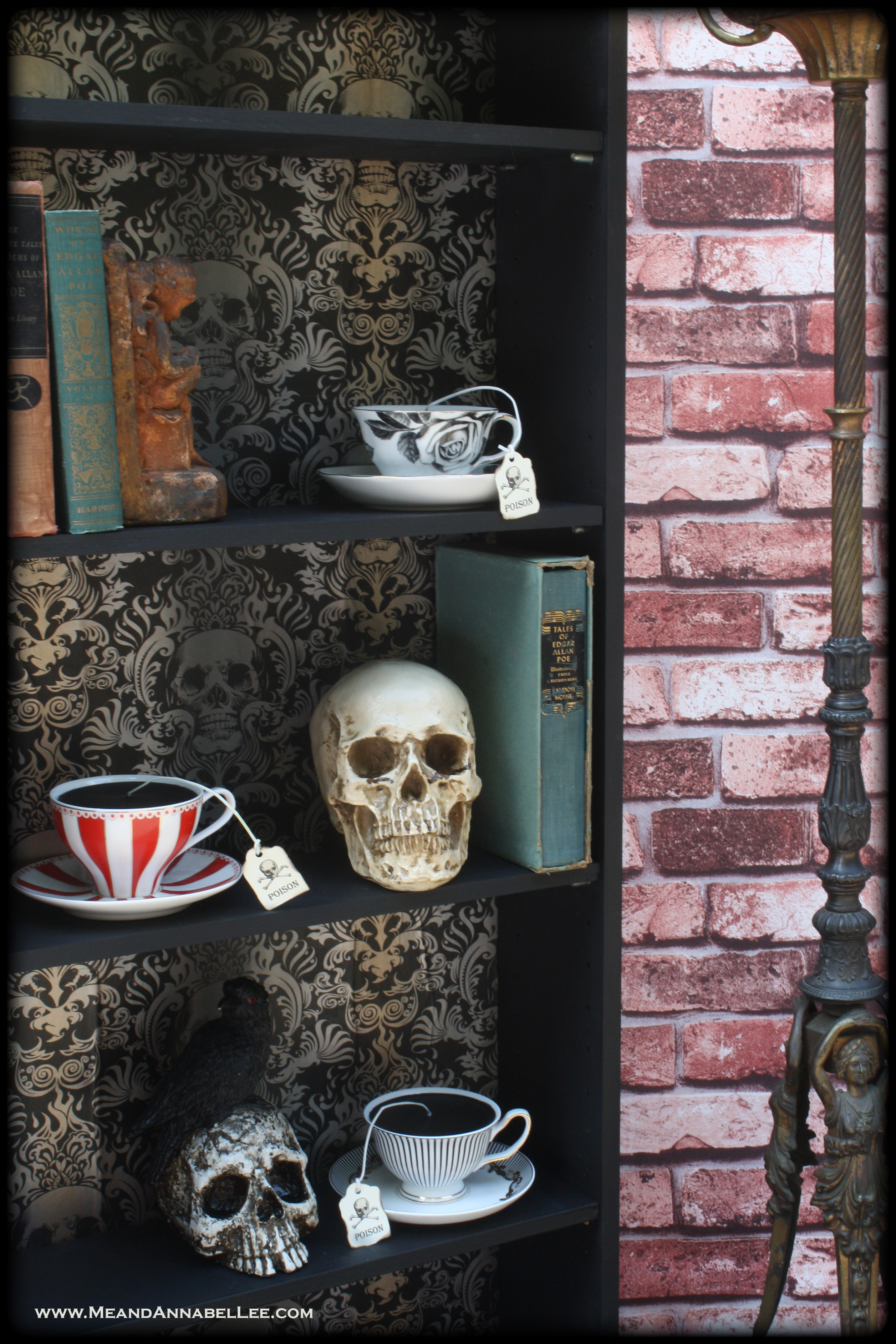 Diy Gothic Skull Bookcase Wallpaper Crafts Goth Home Decor Me And Annabel Lee