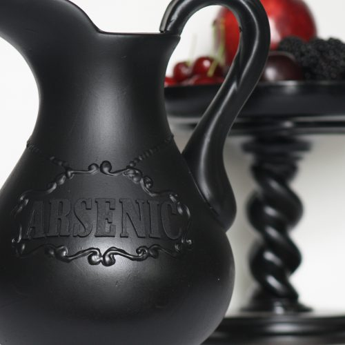 Poisoning Your Guests in Style..... DIY Arsenic Drink Pitcher   Goth It Yourself   How to use Dimensional Paint Writer   Gothic Blog Post   www.MeandAnnabelLee.com - Blog for all things Dark, Gothic, Victorian, & Unusual