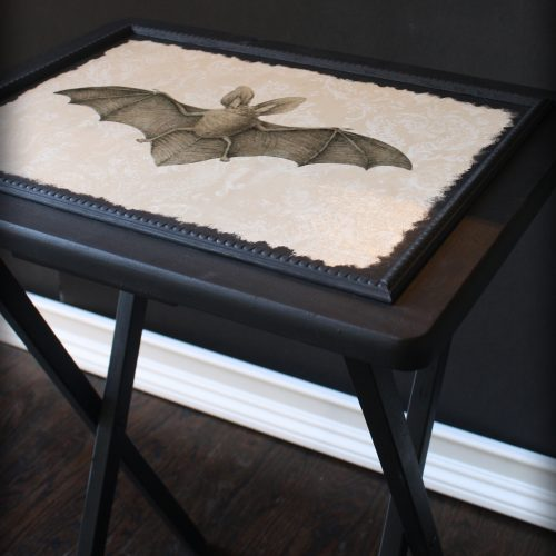 Victorian Gothic Image Transfer | DIY Vintage Vampire Bat TV Tray Table | Goth It Yourself | Silhouette Sticker Paper | Wallpaper projects | www.MeandAnnabelLee.com