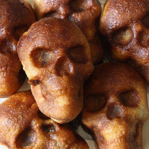 Spinach Feta Skull Appetizers - Halloween Treats - Gothic Baking - www.MeandAnnabelLee