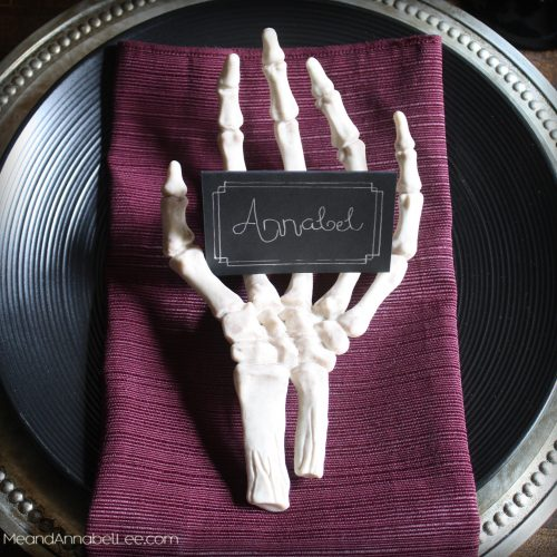 Skeleton Hands Halloween Place Card holders   Halloween Table Setting   Gothic Dinner Party   www.meandannabellee.com