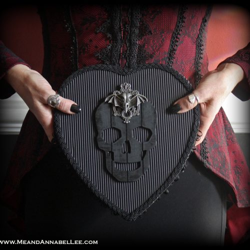 DIY Gothic Valentine Boxes of Chocolates | Black Skull Heart | Dark Romance | www.MeandAnnabelLee.com
