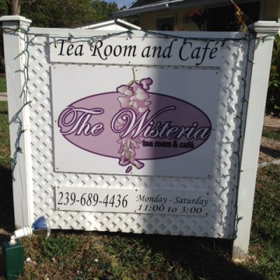 Sign in front of the Wisteria Tea Room