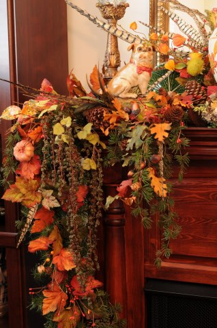 I like this Autumn spray for a banister or mantle