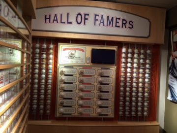 Autographed baseballs from Hall of Famers...no Pete Rose is NOT there