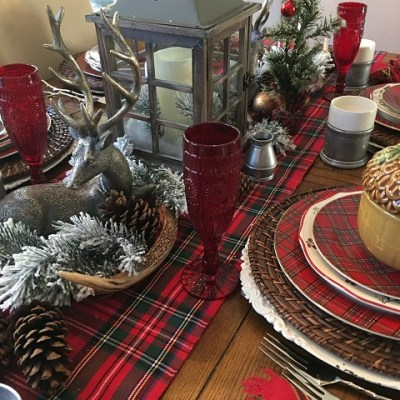 A Pewter And Plaid Christmas Tablescape !!!