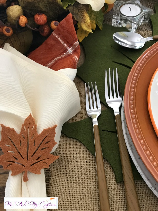This is a Fall Tablescape Blog Hop and the place setting starts with pretty napkins and flatware.