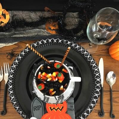 Happy Happy Halloween tablescape.