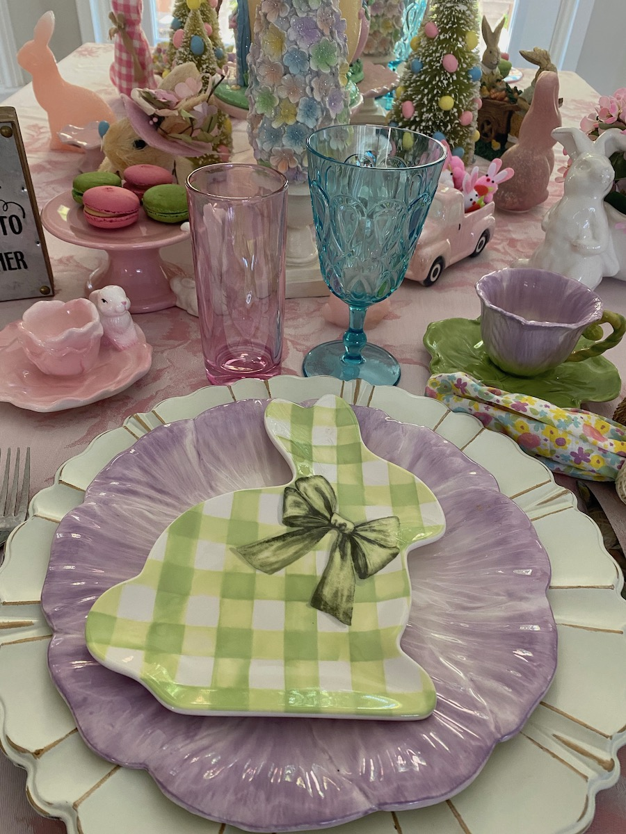 Pastel pink Easter place setting