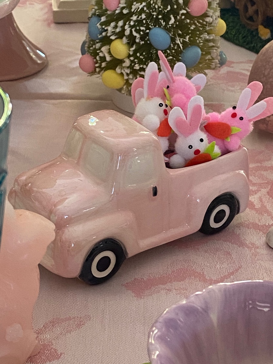 pastel pink truck and bunnies