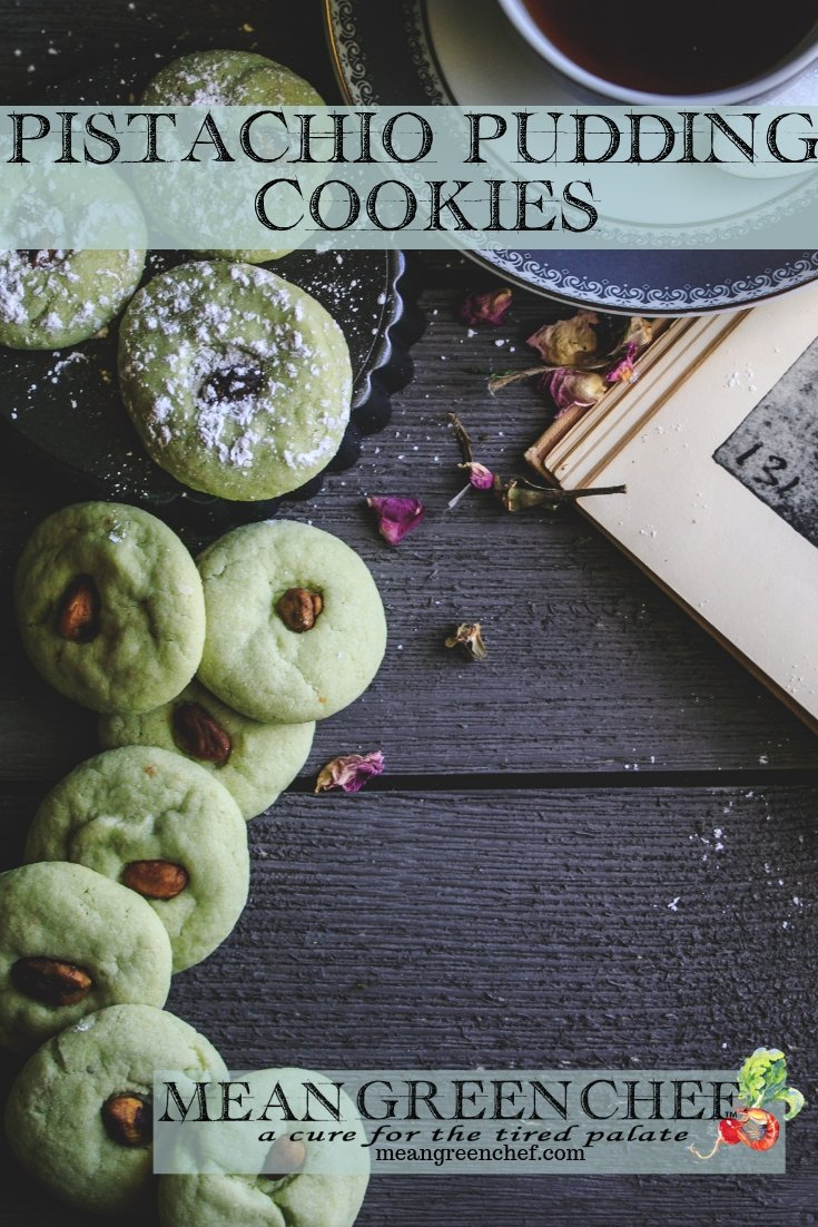 Pistachio Pudding Cookie Recipe | Mean Green Chef | Pistachio Pudding Cookies are light green gems, roll and bake for any occasion. Soft and buttery with a touch of salty and sweet they melt in your mouth, pack a delicious bite and are a perfect easy Easter Brunch Cookie! #pistachio #pistachiocookies #cookies #cookiesofinstagram #cookiedough #cookieswap #desserts #easterrecipes #meangreenchef #MCKitchens