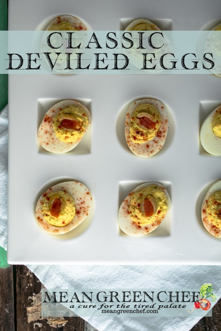 Classic Deviled Eggs Recipe | Mean Green Chef | Classic Deviled Eggs, straight from our kitchen and ideal for parties of any size. We add an extra pop of umami with a dash of Worcestershire sauce that deepens the taste of these flavor bombs. #eggs #deviledeggs #appetizers #easterrecipes #easterbrunch #nelliesfreerange #recipes #meangreenchef