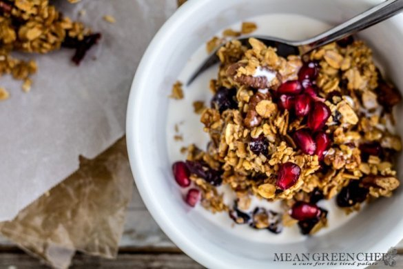 Brown Butter Granola with Pecans and Cranberries Recipe - Mean Green Chef