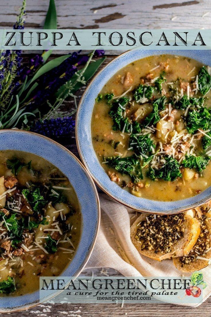 Zuppa Toscana - Mean Green Chef #zuppatoscana #zuppa #souprecipes #soup #comfortfood #italiansausage #dinnerrecipes #meangreenchef