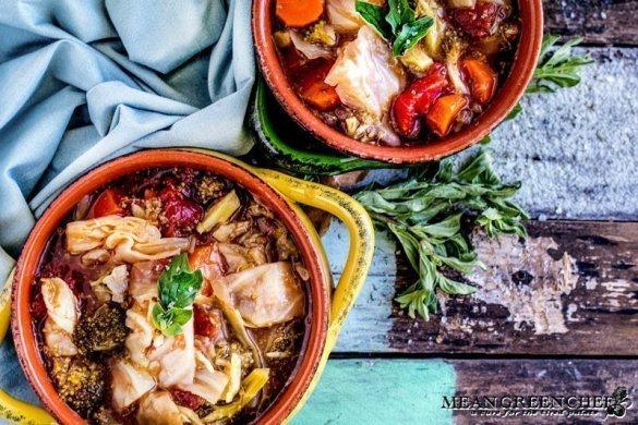 Cabbage Soup Recipe | Mean Green Chef | Robust Cabbage Soup is a full-flavored bowl that's healthy and light. Super easy to prepare and totally versatile you can add more veg or even some roasted chicken if you want to! #cabbagesoup #cabbage #cabbagerecipes #soup #souprecipeshealthy #foodphotography #foodstyling #meangreenchef #MGCKitchens