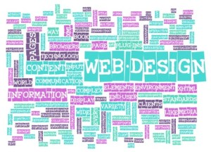 Web design terminology words as a graphic