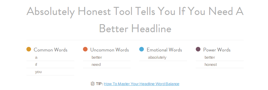 List and categories of words in my headline