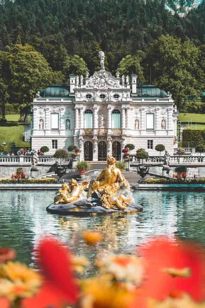Linderhof Palace and fountains in the mountains of Germany