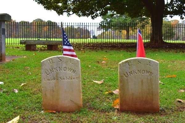 Gravestones of unknown Union and Confederate soldiers from a Civil War cemetery at Appomattox Courthouse National Historic Site.