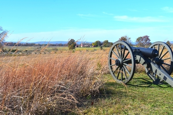 A single cannon stands guard over a field with a house in the background