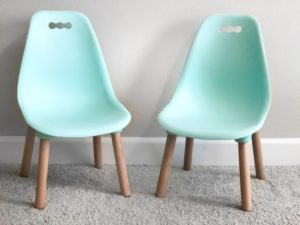 set of two mint green modern toddler chairs