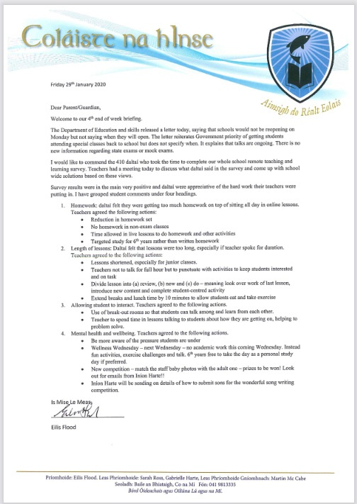 CnI Friday Letter to Parents