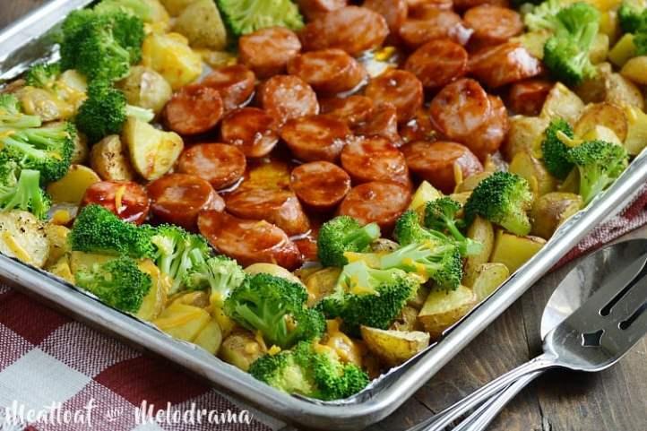sheet pan bbq smoked sausage dinner with broccoli and potatoes