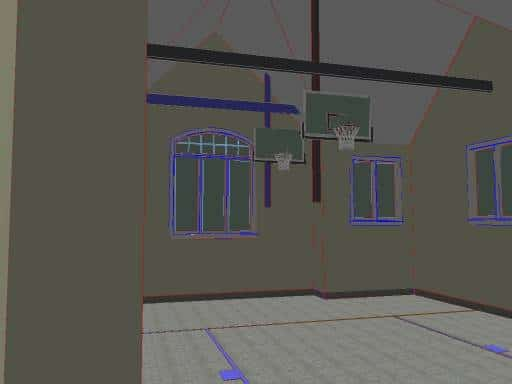 garage basketball court rendering