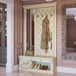 Вешалка с обувницей, 4 крючками и зеркалом Б5.11-9 Карамель