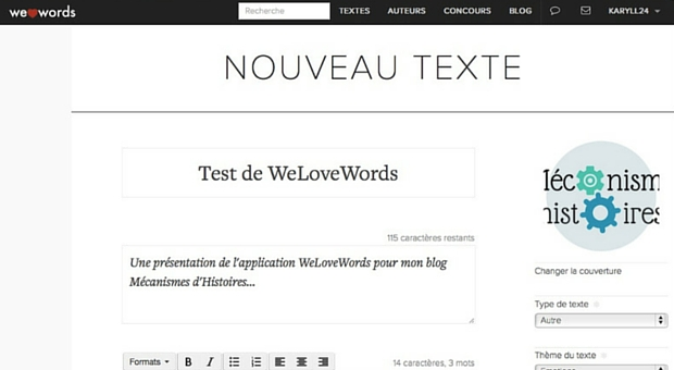 Page écriture de Welovewords - article
