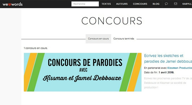 Page concours de Welovewords - article