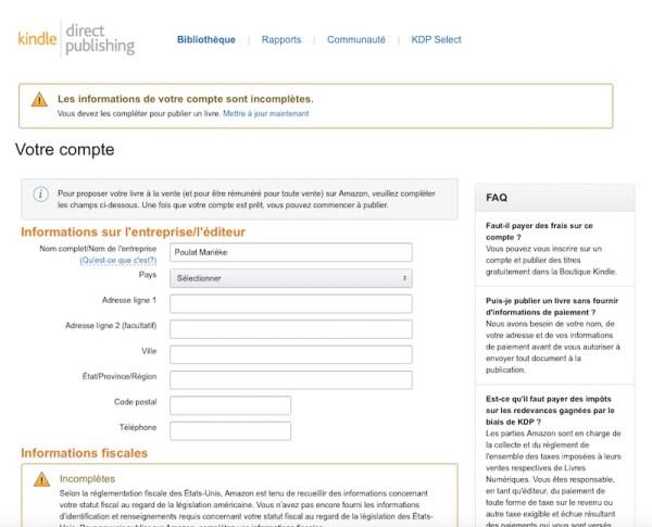 KDP - Entrer ses informations personnelles