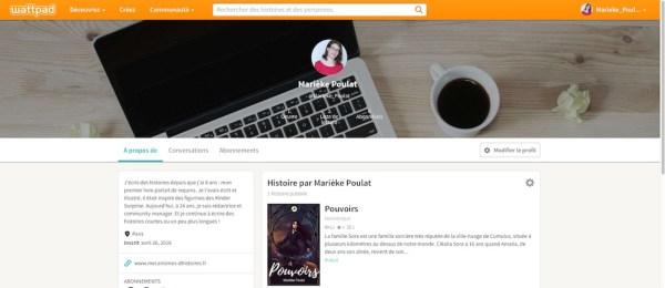 Une page profil sur Wattpad